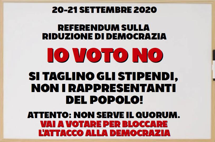 """REFERENDUM 2020 SUL TAGLIO ALLA DEMOCRAZIA – LE RAGIONI DEL """"NO"""""""